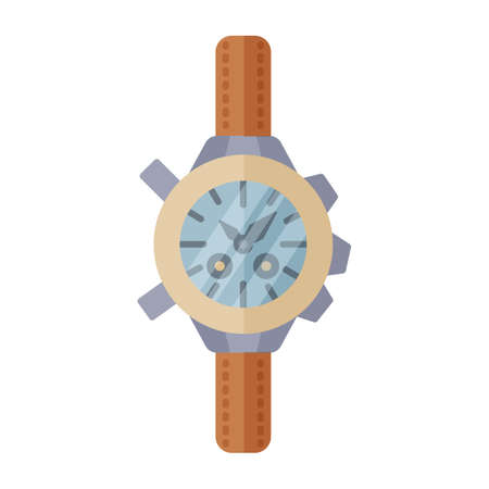 Hand Watches for tourism in modern flat style without outline. Attribute of traveller and tourist. Forest equipment for time and navigation. Vector illustration. Ilustração