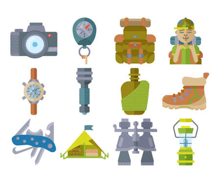 Hiking equipment and forest leasure vector icon set. Mountain hiking and trekking elements. Multitool, lantern, binocular, hiking boots, flask, flashlight, backpack, compass and etc. Flat icons Illustration