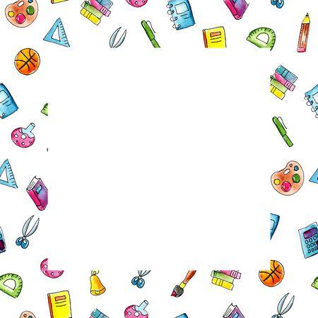 illustration aquarelle croquis cadre carré des matières scolaires : crayon, stylo, cahier, calculatrice, livre, règle, pinceau, palette, ciseaux, balle. dessinés à la main sur fond blanc