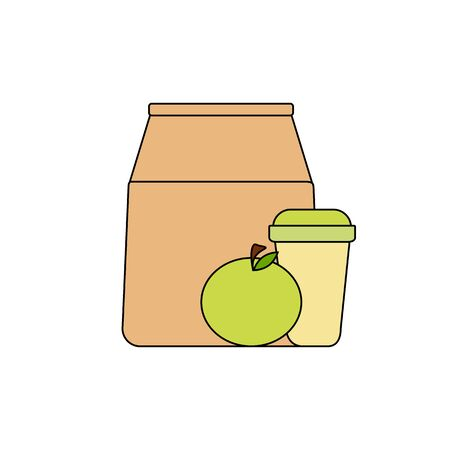 lunch box: paper bag, green apple and coffee in a paper cup. healthy breakfast, healthy lifestyle. Vector graphics
