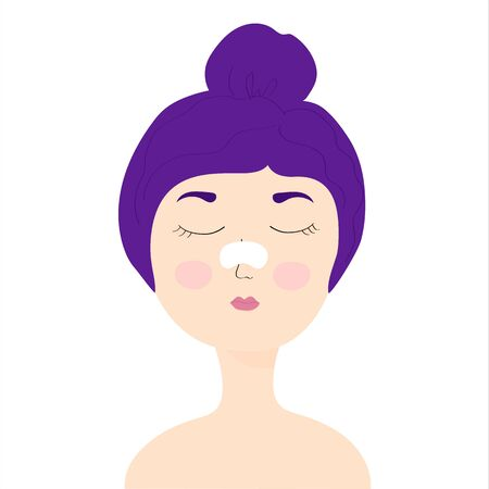 Young girl with a cleansing strip on the nose of black dots. girl with eyes closed. home care, skincare, girl caring for her face. Vector Illustration.