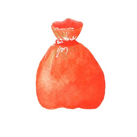 illustration of a watercolor red bag for gifts, chocolates on a white background. for the holiday Halloween, New Year, Christmas. element for design Banco de Imagens