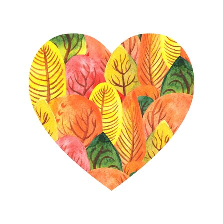 Illustration watercolor heart from autumn forest. red-orange yellow.