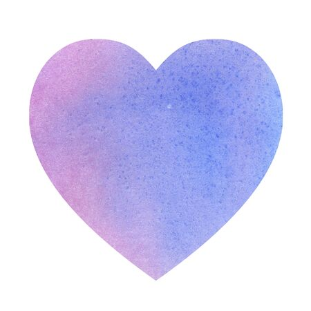 illustration watercolor heart made of blue violet color spots. space for text. for design, cards Stock Photo