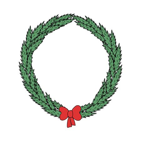illustration of a simple round wreath of fir branches and a red bow. for design, space for text. Vector graphics