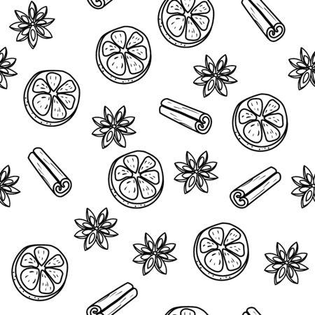 illustration transparente motif de noël de tranches de mandarine, de cannelle et de fleur d'anis. lignes noires