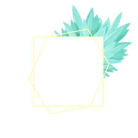 Watercolor illustration with golden yellow hexagonal frame with emerald green leaves on a white background with space for your text. Card design. Wedding invitation