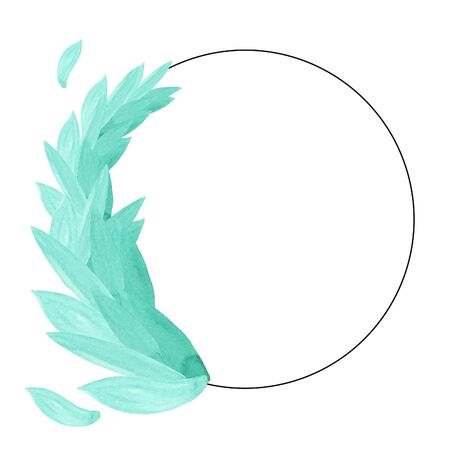 Watercolor illustration of a round black frame with emerald green leaves on a white background with space for your text. Card design. Wedding invitation