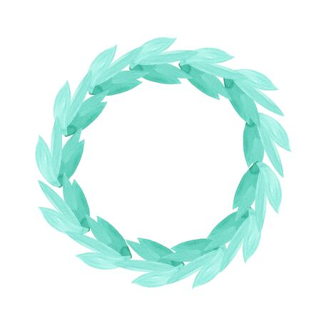 Color circular emerald green leaf and wreath frame. Design element for invitations, quotes, greeting cards, blogs and more. Stok Fotoğraf