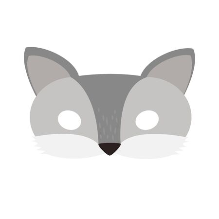 illustration carnival mask forest animal cartoon gray wolf. mask on the eyes of a masquerade. vector Illustration