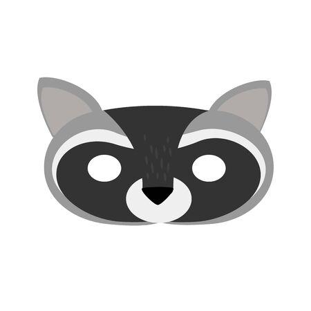 illustration carnival mask forest animal cartoon gray raccoon. mask on the eyes of a masquerade. vector Иллюстрация