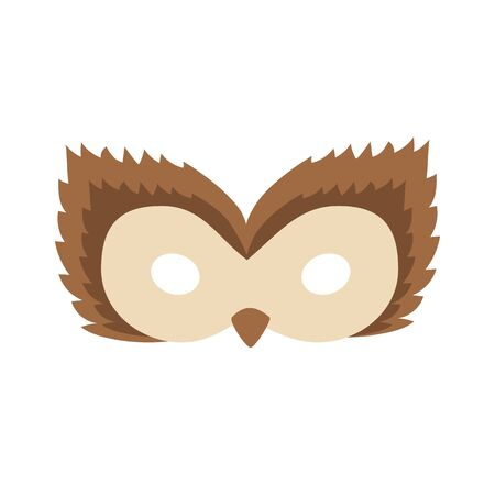 illustration of a cartoon brown owl carnival mask of a forest animal. mask on the eyes of a masquerade. vector Иллюстрация