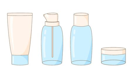 illustration of cute empty transparent tubes of bottles for cosmetics, creams, shampoos, shower gel, serums and essences. for travel, business trips, miniatures, convenient to take with you. vector Ilustracja
