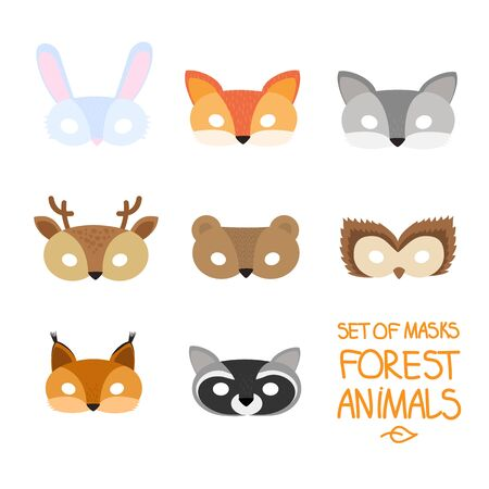 illustration set of cartoon animal forest carnival masks: bear, fox, hare, wolf, owl, squirrel, deer, raccoon. mask on the eyes of a masquerade. vector Illustration