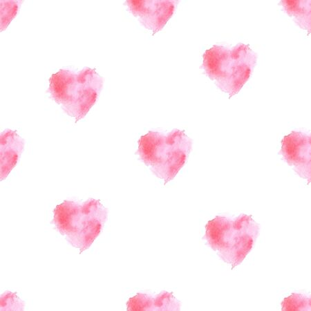 illustration watercolor seamless pattern of pink blurry hearts on a white background. Foto de archivo - 134875302
