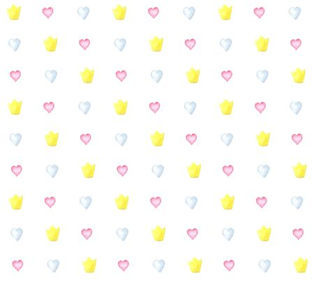 illustration watercolor seamless pattern of pink blue hearts and a gold crown on a white background. Foto de archivo - 134875305