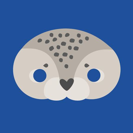 Illustration Carnival mask of arctic animals cartoon seal. children's mask on the eyes of a masquerade. vector
