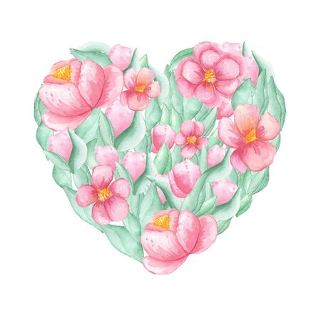 Watercolor illustration heart made of pink peony flowers and green leaves on a white background with place for text. mood spring summer. For cards, design, flyers, congratulations. Reklamní fotografie