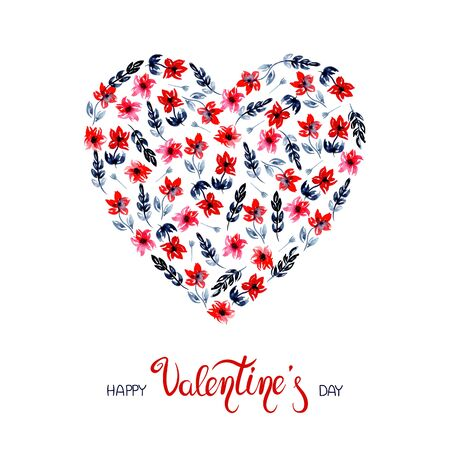 illustration watercolor heart of red tulip flowers with blue indigo leaves. for the holiday Valentines Day. spring summer mood. for cards, invitations, design.