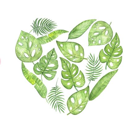 illustration watercolor heart made of tropical leaves on a white background. for the holiday of Valentines Day. spring summer mood. for design, banners, cards, invitations