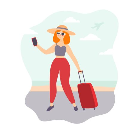 illustration of a young girl a blogger with red hair on vacation walks along the seashore with a bag on wheels, takes pictures of herself for a blog. a plane flies in the sky. flat style, vector