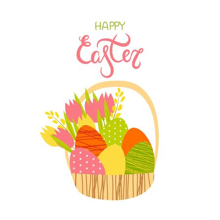 illustration of a basket with easter orange yellow green pink eggs with a bouquet of pink yellow tulips on a white background.Happy Easter lettering.the holiday of Easter.for design, cards, flyers. Ilustrace