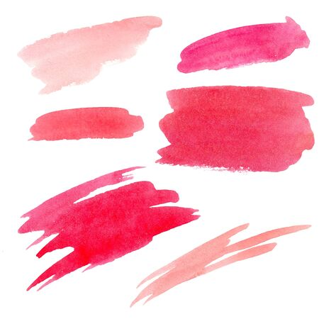 Abstract spot and smears of orange coral red pink colors watercolor background. hand drawn