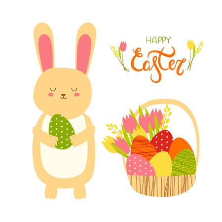 illustration of an easter brown bunny with a green egg in his hands with easter basket on a white background. Happy Easter lettering. space for text. for design, cards, flyers.