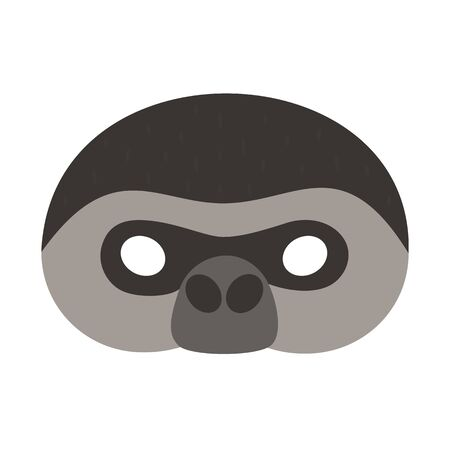 illustration carnival mask tropical animal gorilla monkey. Eye mask for masquerade, childrens party. for design, greeting cards. vector