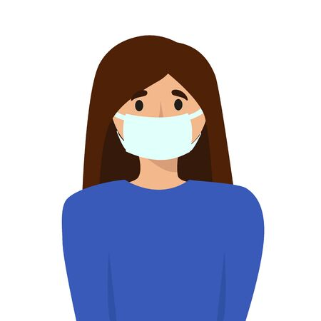 illustration of a Slavic girl with dark hair in a medical mask on her face. protection against diseases, viruses, infections. healthy lifestyle. for design, articles, blog, posters. Illustration