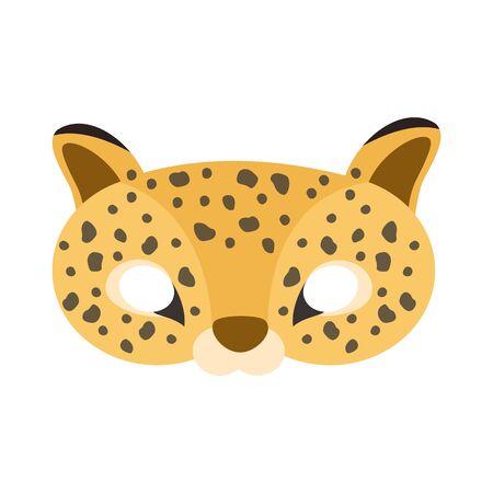 illustration of carnival mask of tropical animal jaguar. Eye mask for masquerade, children's party. for design, greeting cards. vector