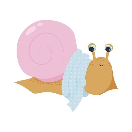 Illustration of a cute beige snail with a pink shell in a blue scarf. childrens print. winter, New Year mood.For design, cards, prints. cartoon style. vector