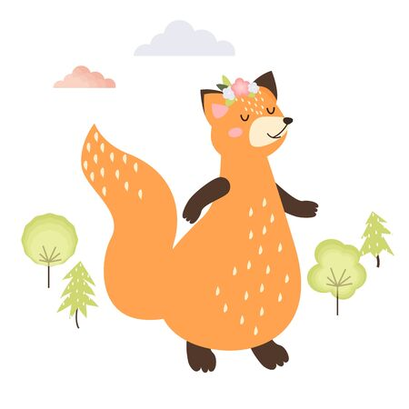 illustration of a cute orange fox with flowers on his head. standing on hind legs with eyes closed. trees and clouds on a white background. For design, baby print, greeting card. flat style. vector.