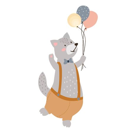 illustration of a cute cheerful gray wolf in shorts with balloons in his hand. wolf with a bow on his neck. For the holiday birthday. for design, invitations, cards. flat style, vector Illustration
