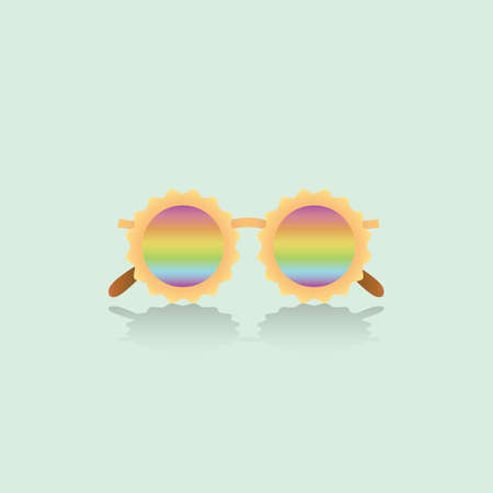 Fashion rainbow modest vector sunglasses in blue background