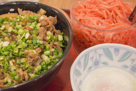 Gyudon, Pickled ginger and Soft-boiled eggs Stock Photo