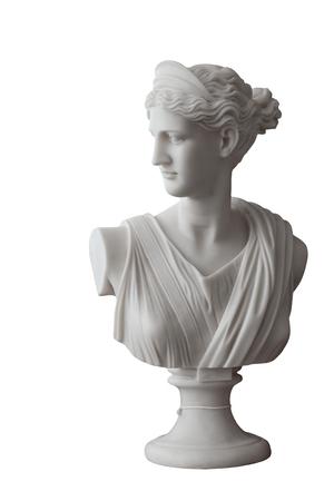 Wit hoofd marmeren standbeeld van roman Ceres of Griekse die Demeter op wit wordt geïsoleerd Stockfoto