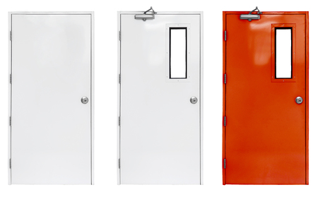 Variation of fire exit door in condominium or apartment for emergency fire alarm, isolate on white Stockfoto