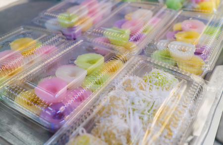 Kanom Nam Dok Mai - Floral Rice Cakes, Thai traditional dessert that is popular among foreigner