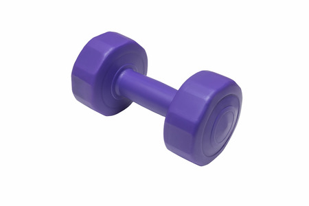 Violet dumbbell isolated on white background