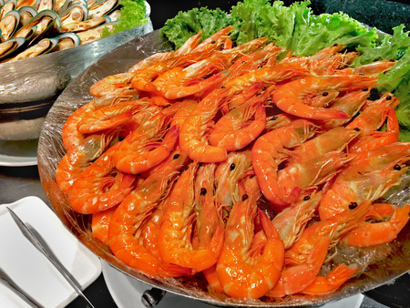 shrimp, prawn on buffet line in restaurant