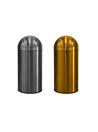 Metallic trash bin silver and gold color isolated on white