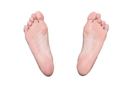 Left and right foot soles, female feet, medical or massage concept 스톡 콘텐츠