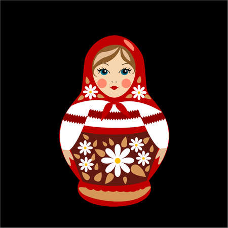 Russian traditional souvenir, nested doll matrioshka in summer clothes. Illustration
