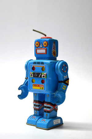 economic revival: Robot vintage toy close up