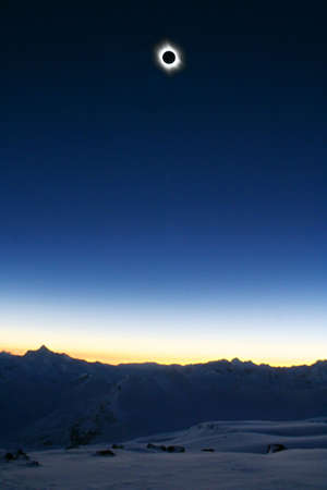 Full Sun Eclips 2006 from Mt. Elbrus (Altitude 3900 meters above the Sea) Stock Photo - 689982