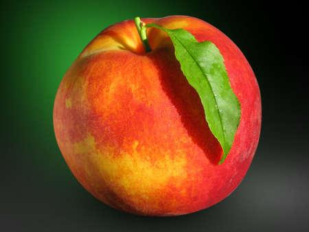 Ripe Peach with Leaf on Dark Background