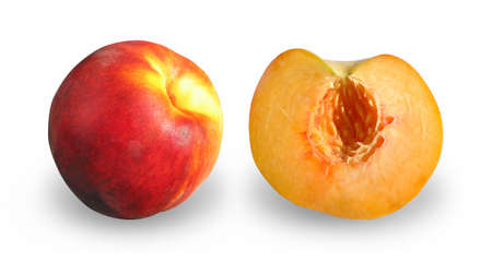 Ripe peach and lobule isolated on white backgrond