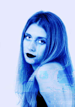 Face of cyber girl in blue colors Stock Photo - 801171
