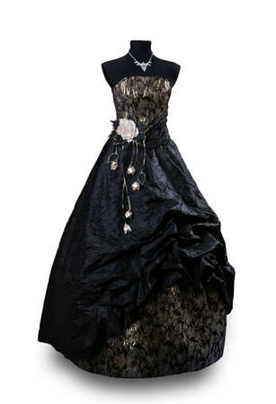 Black Evening dress with gold parts photo